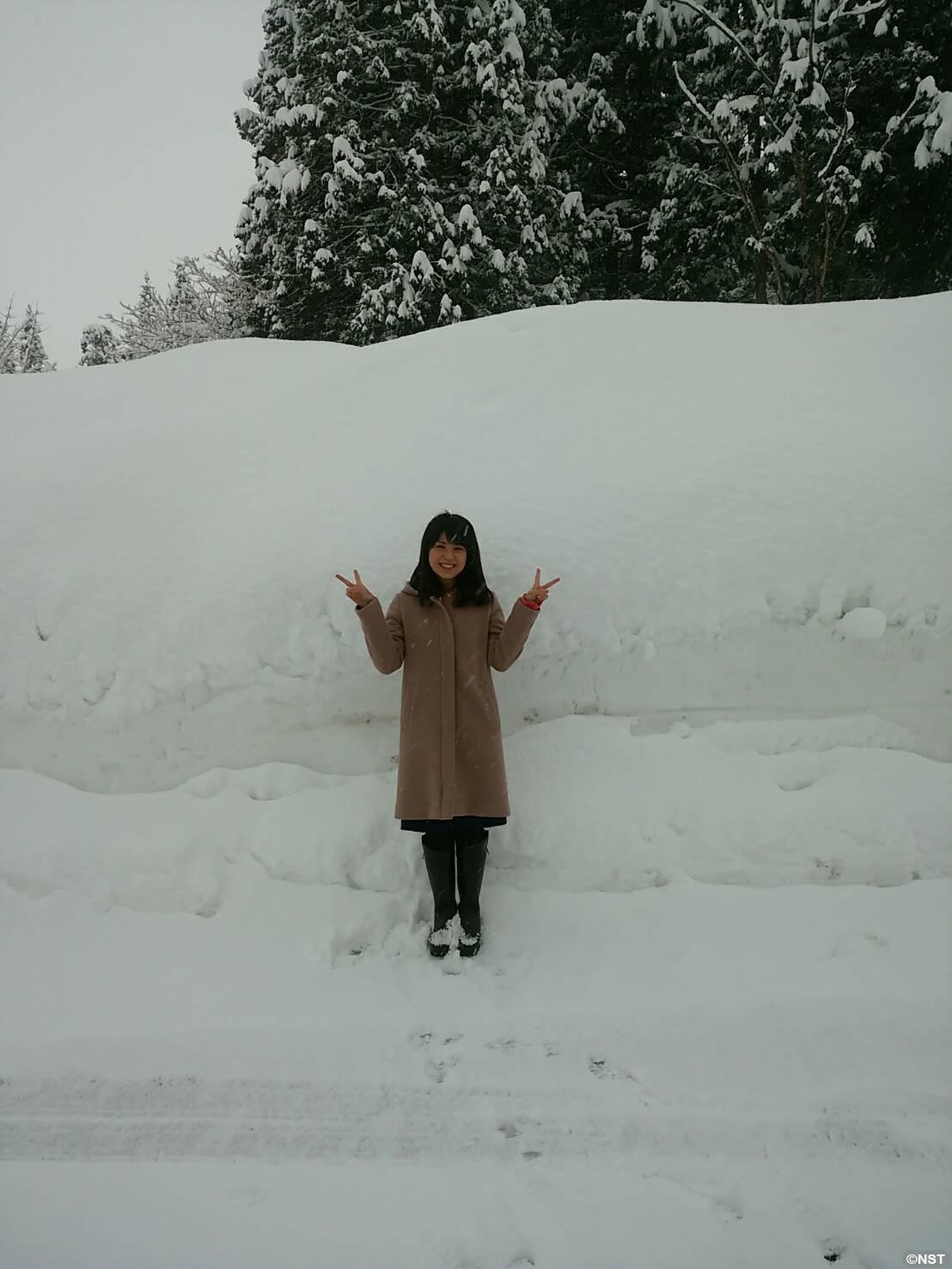 雪の中での1枚